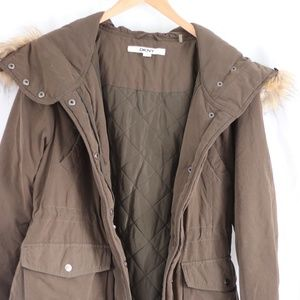DKNY Parka with detachable faux-fur